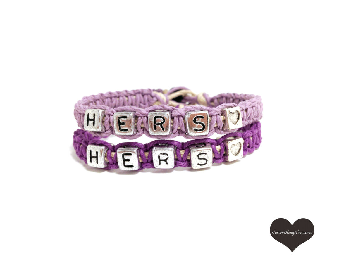 Hers Hers Couples Bracelets, Purple Matching Bracelets, LGBT Gift - product images  of