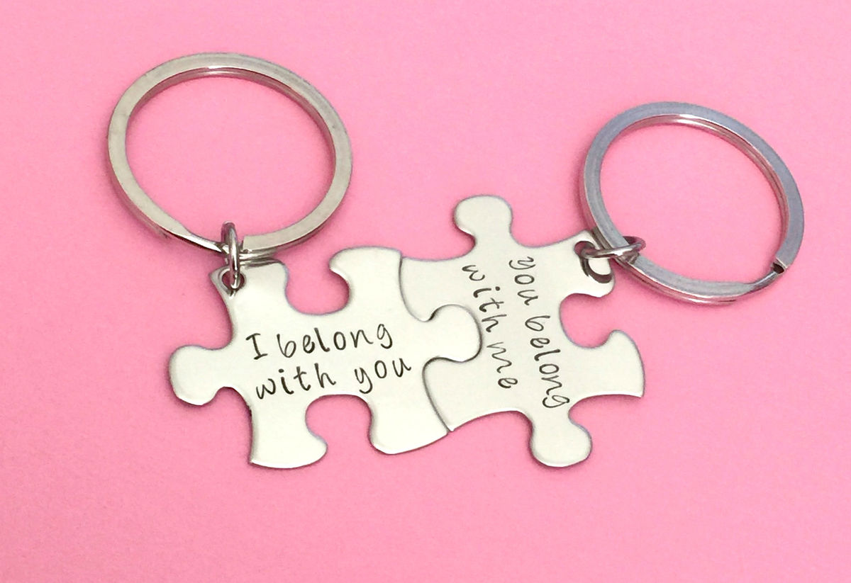 I belong with you, you belong with me, couples keychain puzzle pieces - product image