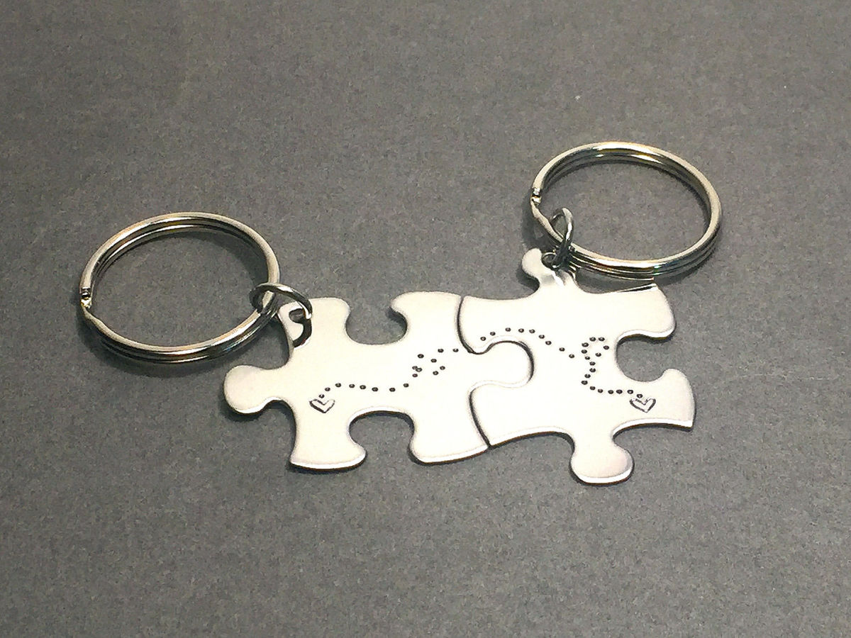 LDR Puzzle Keychains, Connecting dot trail hearts, Couples Keychains - product image