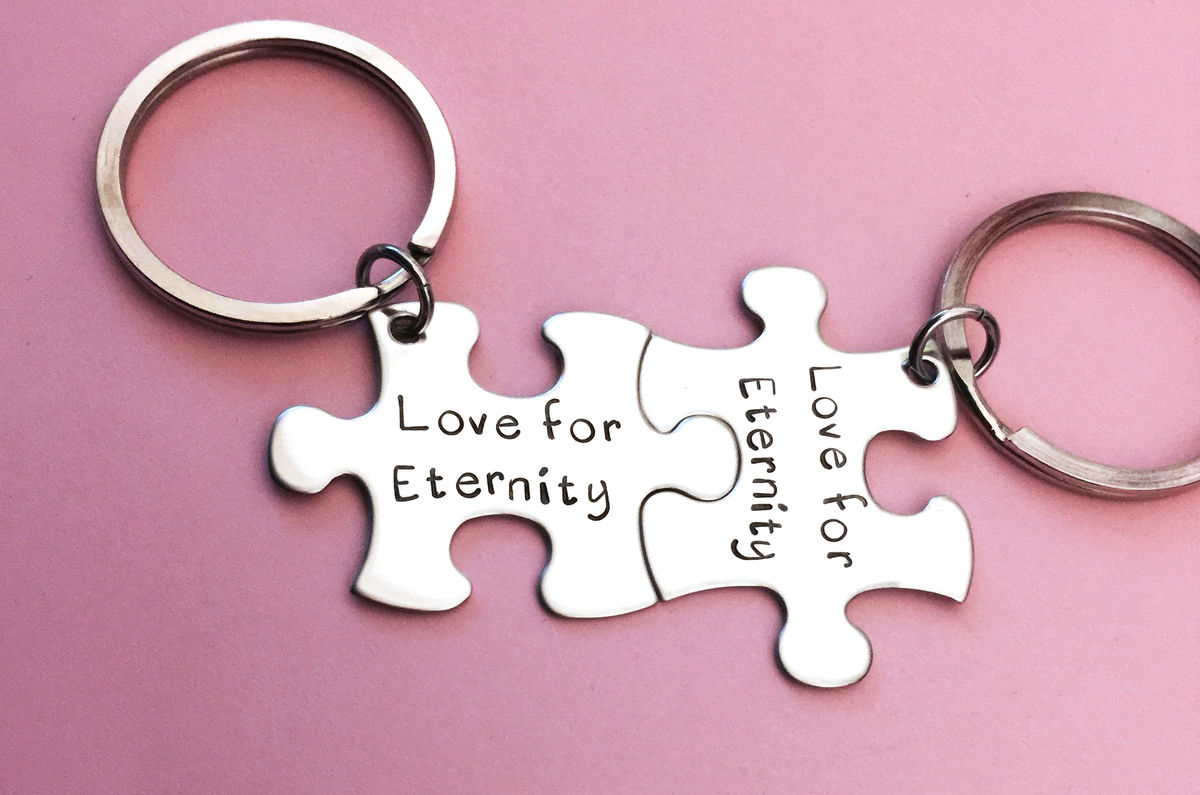 Love for eternity, Couples Keychains, Puzzle Piece Keychain Set - product image