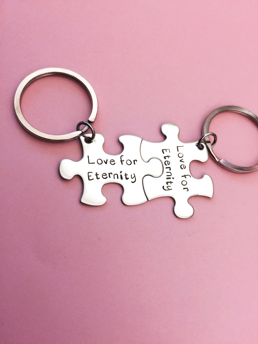Love for eternity, Couples Keychains, Puzzle Piece Keychain Set - product images  of