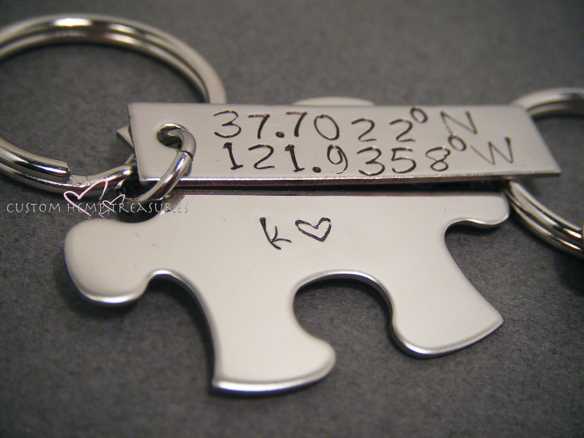 Coordinate Keychains for couples, Lattitude Longitude GPS Keychains - product images  of