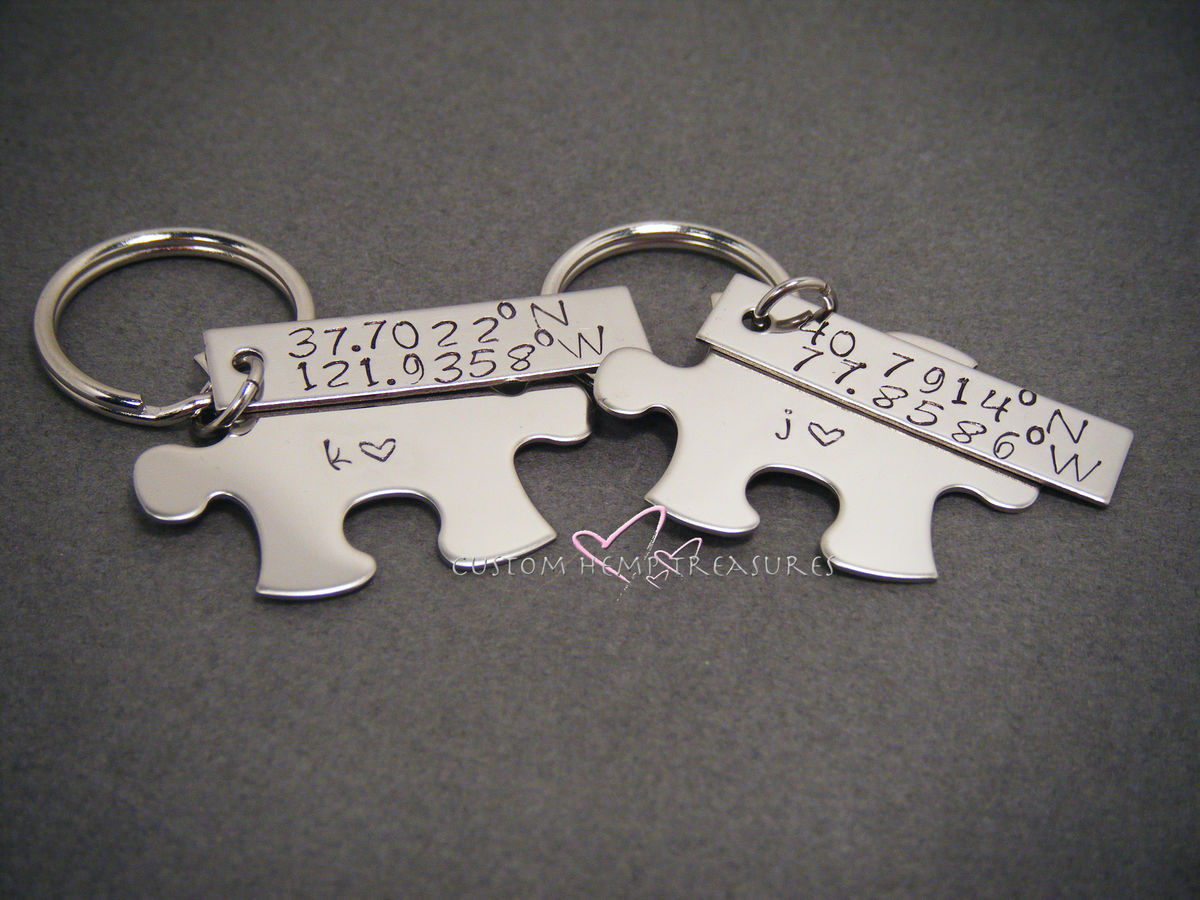Coordinate Keychains for couples, Lattitude Longitude GPS Keychains - product image