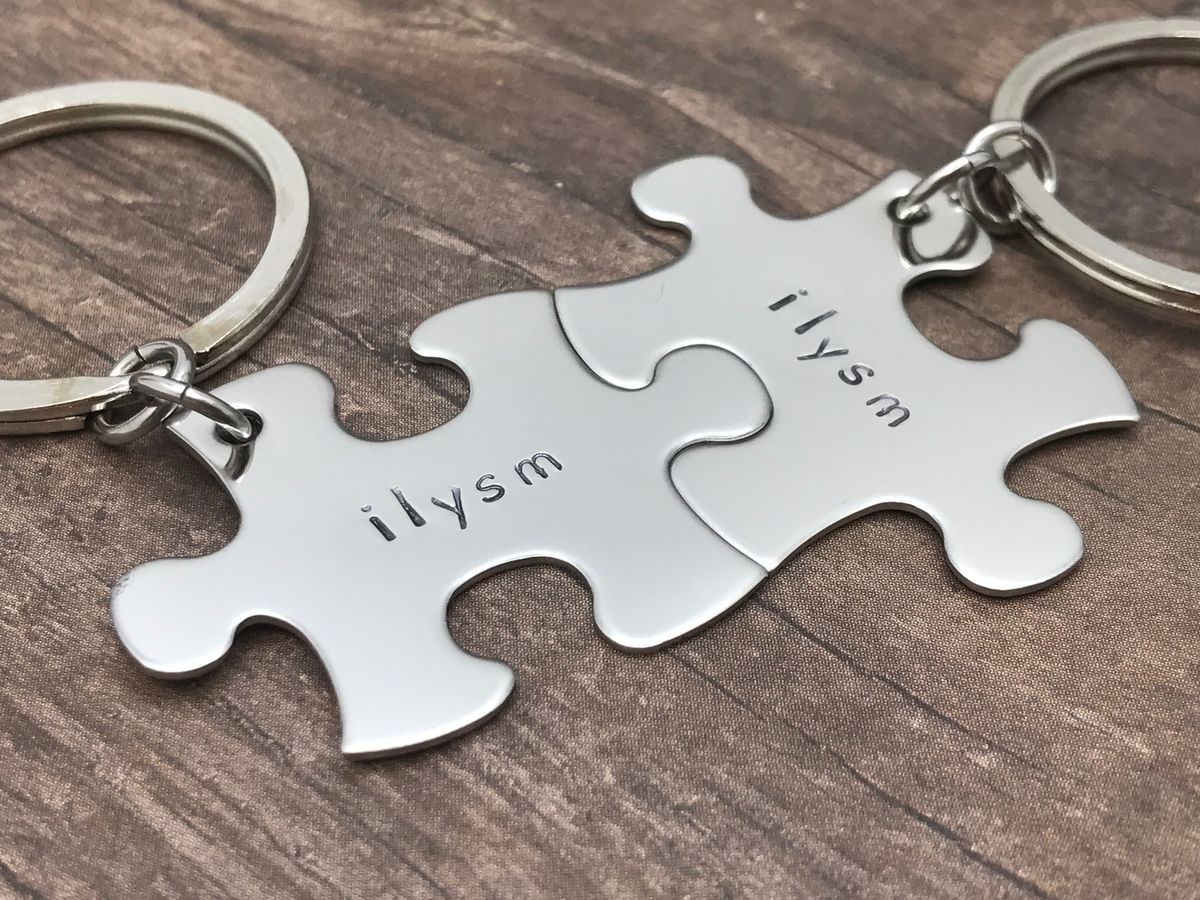 I love you so much Puzzle Piece Keychains, couples keychains - product image