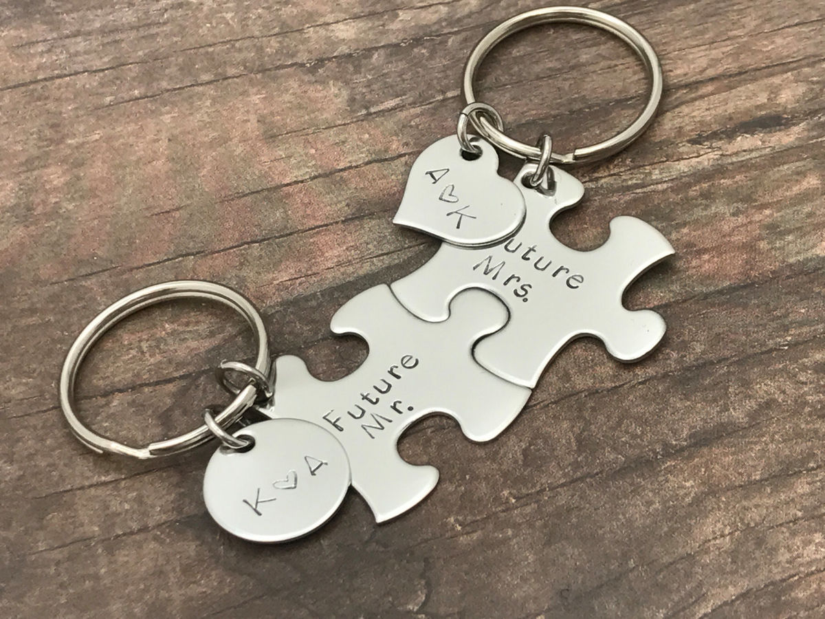 Mr Mrs Keychains with Initials or Date, Custom Mr Mrs Keychains - product image