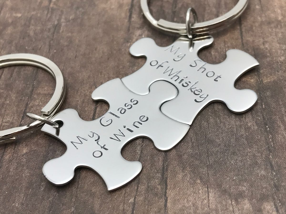 My glass of Wine my shot of Whiskey, Couples Keychains - product images  of