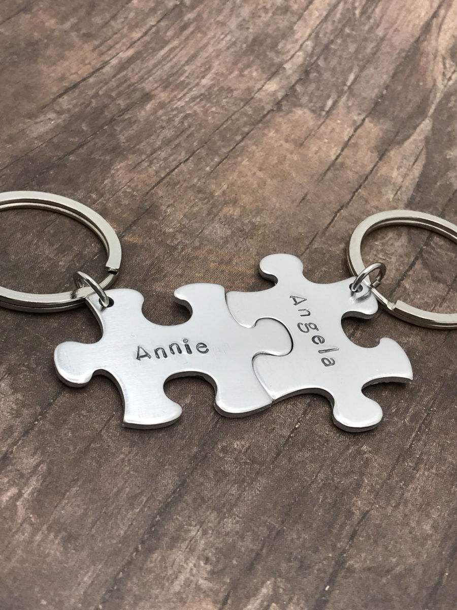 Aluminum Puzzle Keychains for couples with custom names  - product image