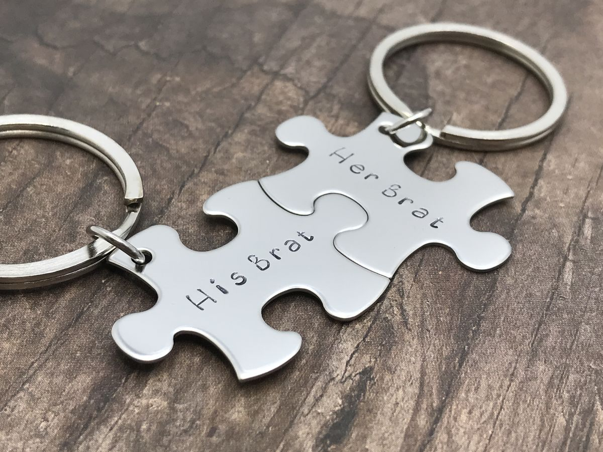 His Brat Her Brat Couples Keychains, Puzzle Keychain Set for couples - product image