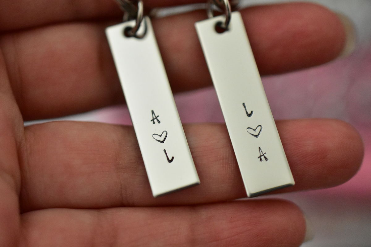 Initial Bar Keychains for Couples, Anniversary Gift for Couples - product images  of