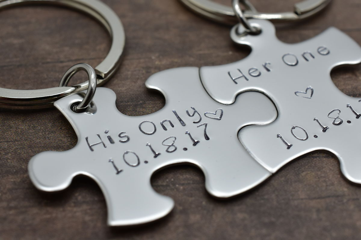 Her One His Only Keychains with custom date - product images  of
