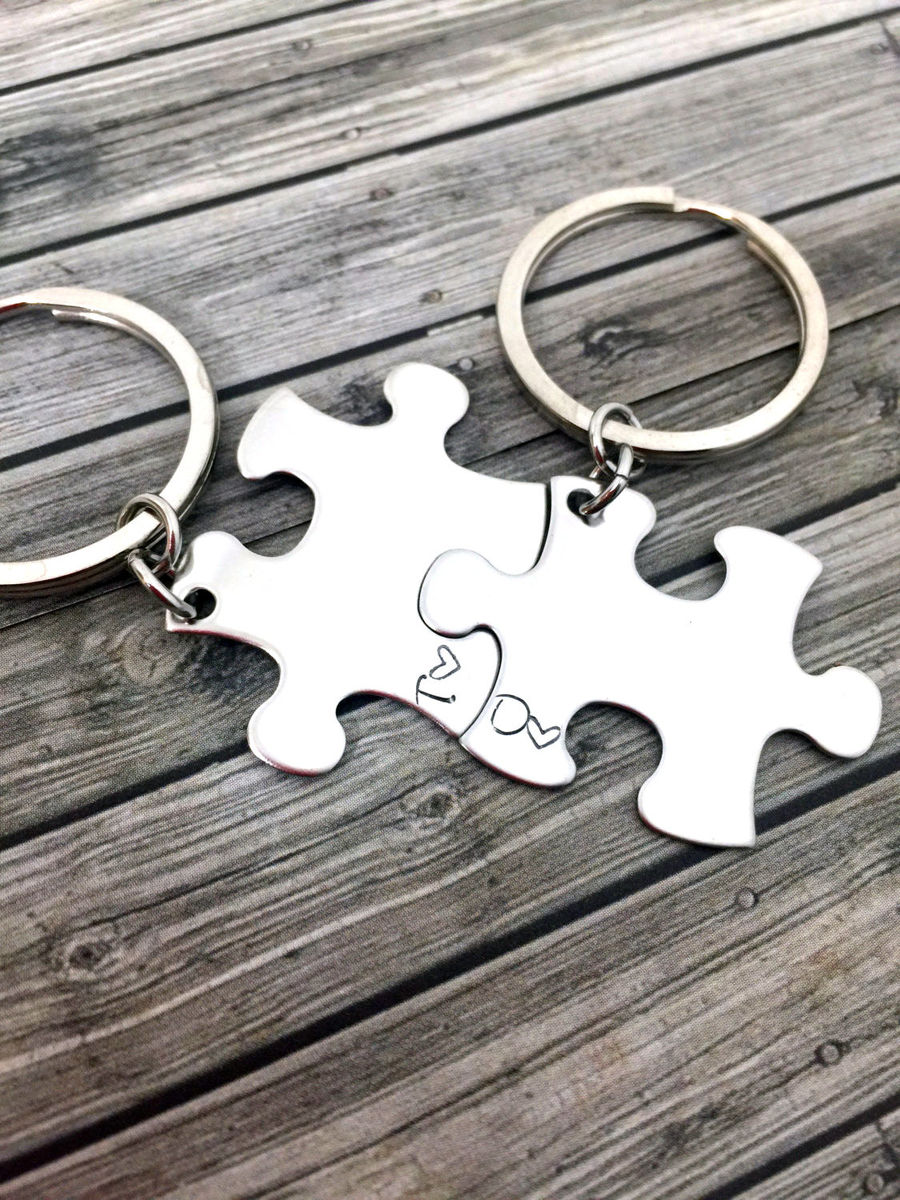 Personalized Initial keychains with initials in the corner of each puzzle piece. - product image