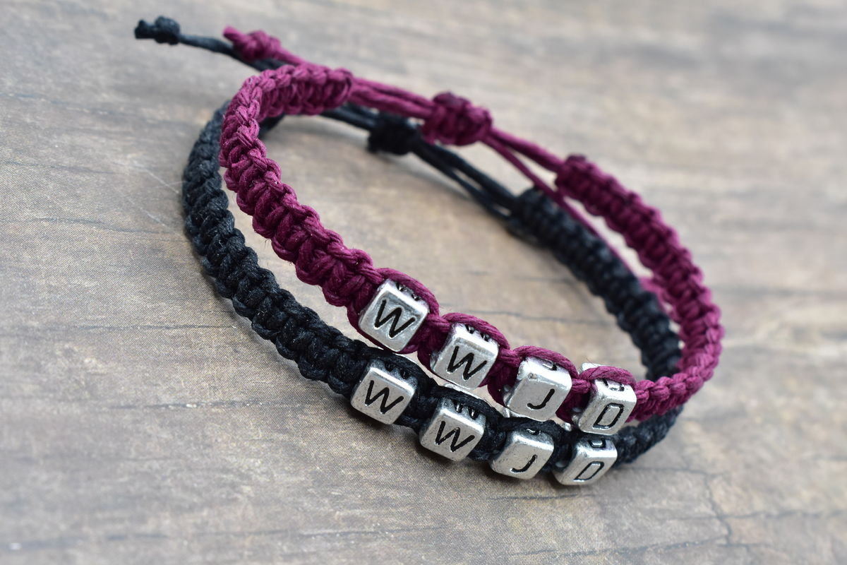Set of WWJD Bracelets in purple and black hemp Adjustable - product images  of