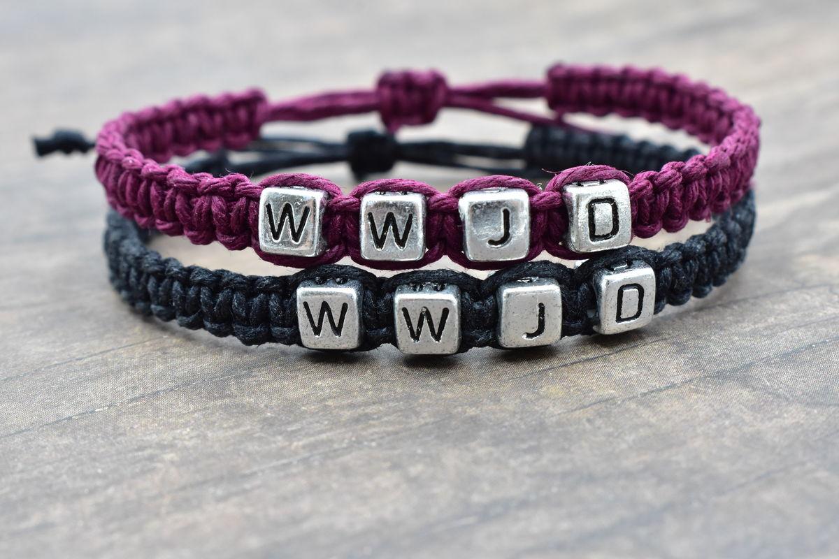 Set Of Wwjd Bracelets In Purple And Black Hemp Adjule