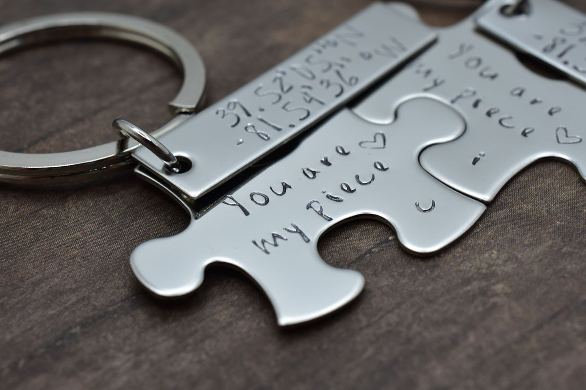 You are my piece puzzle keychains with custom coordinates - product images  of