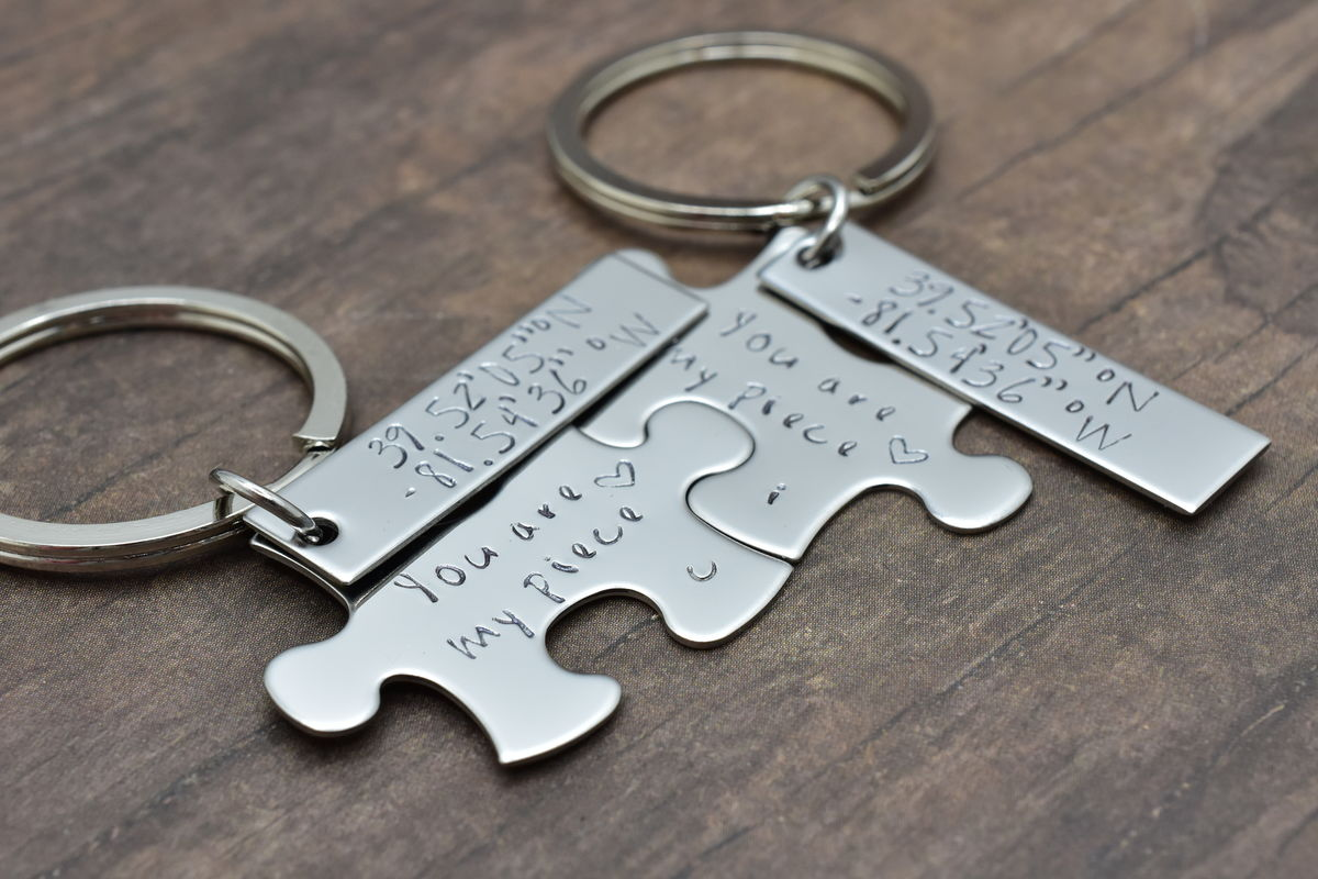 You are my piece puzzle keychains with custom coordinates - product image
