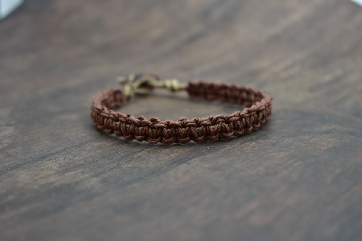Thick Brown Hemp Bracelet For Men - product image