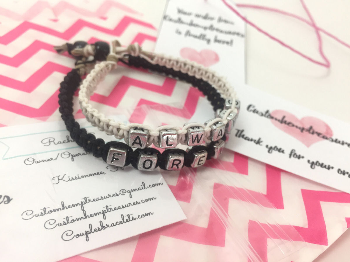 Personalized Couples Bracelets, Custom Initial Bracelets - product images  of