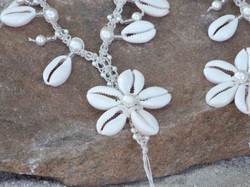 Handmade Hemp Barefoot Sandals with Cowrie Shell Flowers - product images  of