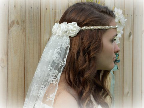 Hippie,Wedding,Veil,-,Hemp,Headband,Pearls,and,Satin,Flowers,hippie-wedding-veil, wedding-veil, non-traditional, bridal-veil, hemp-veil, pearl-veil, wedding-headpiece, wedding-head-wear, bridal-headband, hippie-style, bohemian-chic, boho-chic, bohemian, veil, hippie-wedding, beach-wedding, ivory-veil, bohemian-wedd