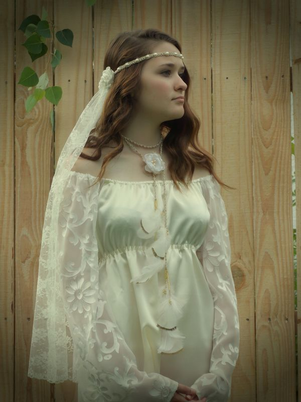 Hippie-Style Wedding Feather Headband White and Gold -Wear it 3 ways! - product images  of