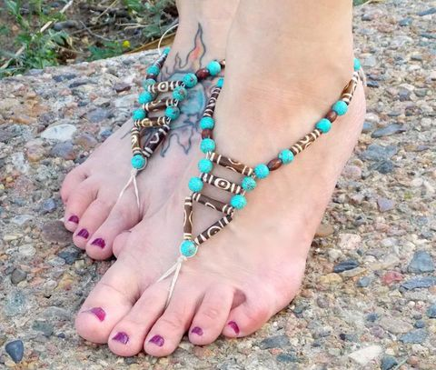 Tribal,Bead,Barefoot,Sandals,handmade-sandals, barefoot-sandals, tribal-beads, bone-hairpipe, beach-sandals, boho-shoes, bohemian, toe-thong, hippie-sandals