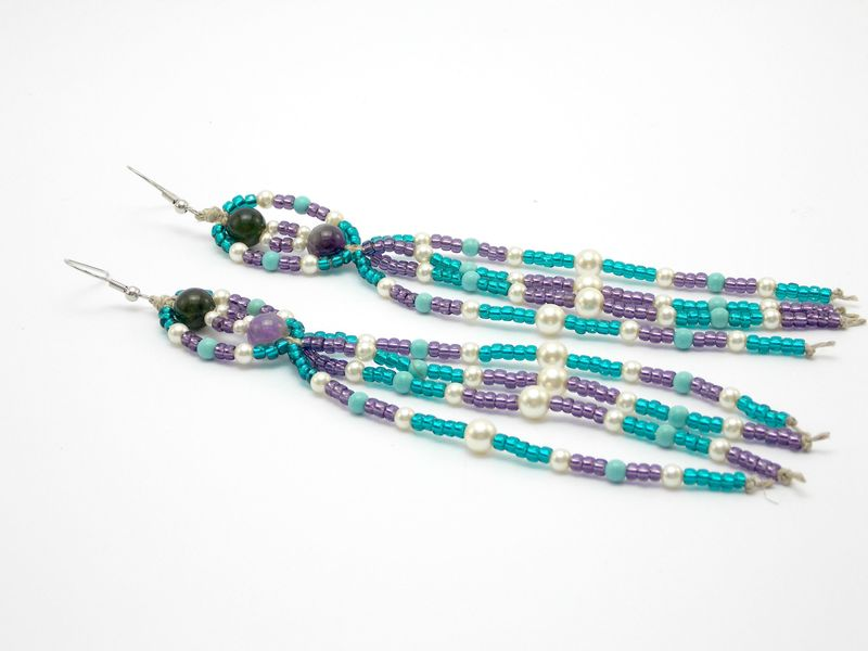 Long Beaded Bohemian Earrings - Amethyst - product images  of