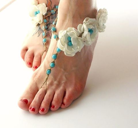 Floral,Wedding,Sandals,-color,pearl,option-,Ivory,Flowers,footless-sandals, boudoir-photography, sexy-feet, floral-wedding-sandals, turquoise-wedding-shoes, beach-wedding-sandals, barefoot-jewelry, hemp, barefoot-sandals, fabric-flowers, handmade, usa, destination-wedding, beach-bride-shoes, bridesmaids-sandals