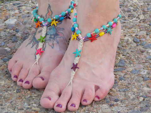 Colorful,Starfish,Barefoot,Sandals,starfish-barefoot-sandals, barefoot-jewelry, hemp-barefoot-jewelry, beach-accessories, beach-jewelry, handmade, starfish-jewelry