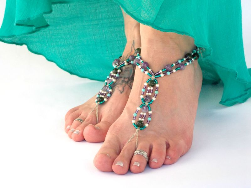 Bohemian Beaded Barefoot Sandals - Amethyst - product images  of