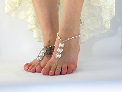Triple,Pearl,Bridal,Barefoot,Sandals,-,Ivory,or,White,wedding-sandals, brides-shoes, prom-shoes, dance-shoes, barefoot-sandals-brides, beach-bride-sandals, beach-bride-shoes, wedding-sandals, white-wedding, ivory-wedding-shoes, toe-thong, barefoot-jewelry, bridal-foot-jewelry, foot-jewelry, sexy-foot-jewelry