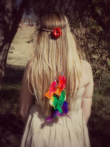 Rainbow,Feather,Body,Jewelry,-Hand,Braided,Hemp,Chain,body-chain, waste-chain, rainbow, rave-wear, rave-chain, body-jewelry, feather, feather-jewelry, hand-braided-hemp-chain, hemp, hemp-jewelry, hemp-body-jewelry