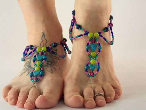 Butterfly,Bohemian,Barefoot,Sandals,butterfly-sandals, barefoot-sandals, barefoot-shoes, barefoot-jewelry, hemp, handmade, turquoise, butterfly, gypsy, bohemian, hippie, beach, colorful, sandals, shoes, pink, foot, jewelry,