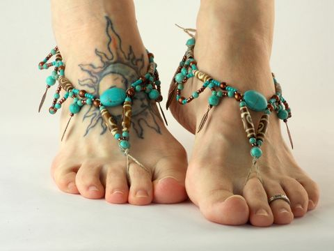 Tribal,Bohemian,Barefoot,Sandals,copper, turquoise, barefoot-sandals, barefoot-jewelry, hemp, handmade, brown, foot-accessories, footwear, shoes, feather-charm, sandals, tribal, beach, yoga, dance, earthing, foot-jewelry