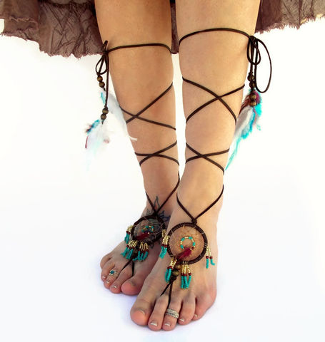 Dream,Catcher,Barefoot,Sandals,-Gold,,Turquoise,,Wine,dream-catcher, barefoot-sandals, barefoot-jewelry, leather-sandals, handmade-dream-catcher, turquoise-dream-catcher, feather-barefoot-jewelry, feather-jewelry, foot-accessories, foot-bling, footwear, shoes, beach, southwest-footwear