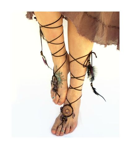 Dream,Catcher,Barefoot,Sandals,-,Amethyst,dream-catcher-jewelry, barefoot-sandals, barefoot-jewelry, handmade-dream-catcher, leather-sandals, dream-catcher, barefoot-shoes, toe-thong, sexy-footwear, festival-footwear
