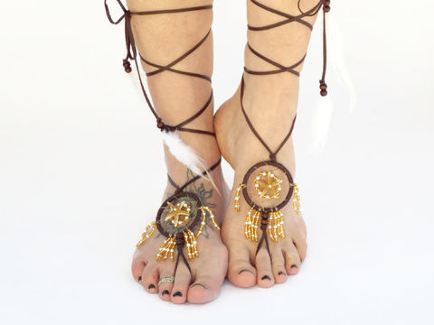 Starfish,Dream,Catcher,Barefoot,Sandals,handmade jewelry, barefoot jewelry, barefoot-sandals, dream-catcher, wrap-sandals, bottomless sandals, footless sandals, leather, brown, starfish, beach, foot jewelry, ankle-jewelry, anklet, free-spirit, barefoot, shoes