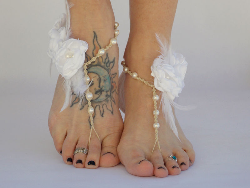 Couture Barefoot Wedding Sandals with White Feather Accents and Flowers - product images  of