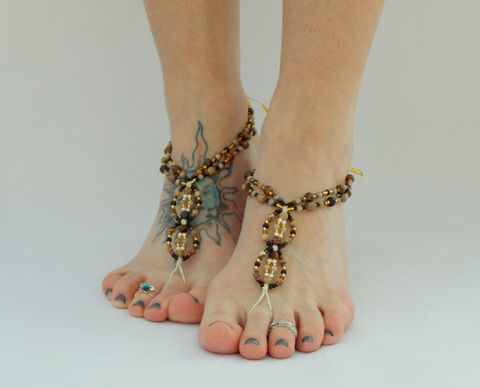Jasper,Barefoot,Sandals,jasper-healing, barefoot-jewelry, barefoot-sandals, toe-thong, footless, bottomless, sandals, shoes, foot-jewelry, brown, earth-tone, nuetral, beach-shoes, zen, meditation, healing-crystals, gemstone-jewelry, hemp-jewelry, hemp