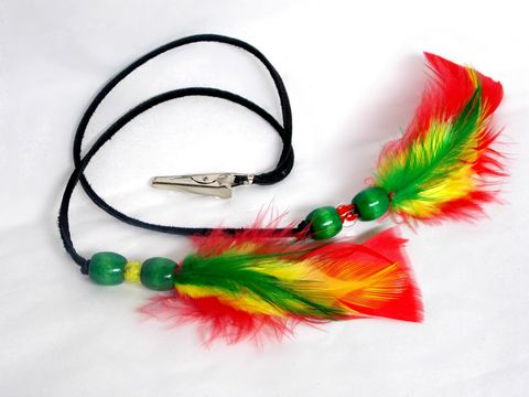 Don't,Worry,,Be,Happy,Feather,Hair,Roach,Clip,rasta, yellow, green, red, feather-hair-clip, 420-sale, colorado-smoking, weed-accessory, roach-clip, feather-clip, hair-feather, blue, feather-accessory, hair-jewelry, black