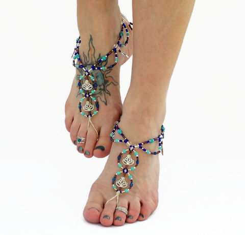 Blue,Lotus,Flower,Barefoot,Sandals,blue, barefoot-sandals, lotus-flower, goddess-charm, zen, yoga, meditation, foot-jewelry, earthing, barefoot-jewelry, hemp, beach-footwear, howlite, gemstone, crystal-healing