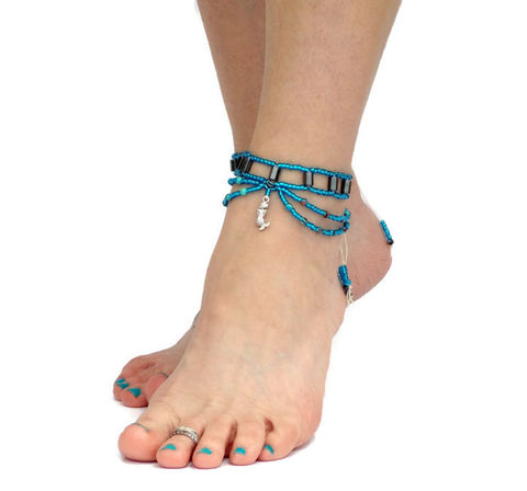 Hematite,Anklet,-,Sea,Gypsy,healing-jewelry, anklet, yoga, hematite, blue, hemp, footwear, foot-jewelry, earthing, ankle-bracelet, ankle-wrap, chain-anklet, slave-anklet, mermaid, turquoise