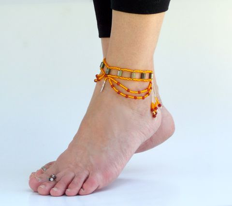 Hematite,Anklet,-,Fire,Goddess,healing-jewelry, anklet, yoga, hematite, orange, hemp, footwear, foot-jewelry, earthing, ankle-bracelet, ankle-wrap, chain-anklet, slave-anklet, goddess, fertility, sun, fire, carnelian