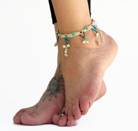 Gypsy,Bell,Anklet,-,Sea,Mermaid,mermaid-anklet, bell-ankle-jewelry, gypsy-footwear, belly-dance-costume, barefoot-jewelry, hemp-anklet, ankle-bracelet, blue, bell-foot-jewelry, festival-wear, mermaid, charm-anklet, handmade, custom