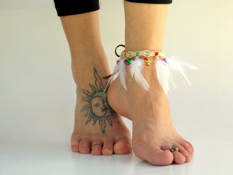 Feather,Cuff,Bell,Anklet,-,Multi,Glow,in,the,Dark,glow-in-the-dark-jewelry, anklet, feathers, feather-cuff, feather-jewelry, festival-wear, multi-color, gypsy-bells, bell-anklet, ankle-jewelry, foot-jewelry, barefoot, hemp