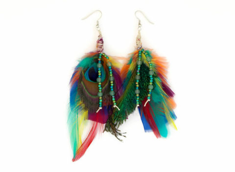 Multi,Color,Peacock,Feather,Earrings,-,Green,Aventurine,peacock-feather-earrings, eccentric, jewelry, hemp-earrings, green-aventurine-gemstone, healing-crystal-jewelry, zen-jewelry, earrings, feather-earrings, handmade, mulit-color, gypsy, bohemian-earrings