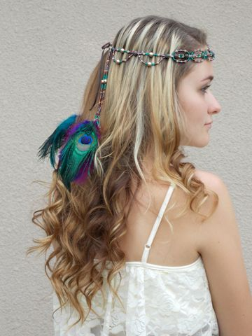 Peacock,Feather,Beaded,Head,Crown,headband, jeweled-head-crown, bohemian-headband, hippie-headband, peacock-feather-headband, hair-feathers, peacock, head-crown, hair-accessory, hair-jewelry