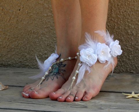 134999ebc6d45 Couture Barefoot Wedding Sandals with White Feather Accents and Flowers