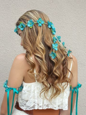 Teal,Hydrangea,Flower,Hair,Crown,floral-crown, aqua-flower-crown, teal-flower-crown, teal, flower-headband, hemp, bridal-headband, flower-lei-hair, hair-flowers, flower-hair-accessory, blue, lime, aqua