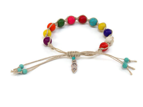 Multi,Colored,Howlite,Bracelet,with,Goddess,Charm,handmade-hemp-bracelet, howlite, goddess-charm-bracelet, multi-color, colorful, bracelet, arm-jewelry, stacked-bracelets