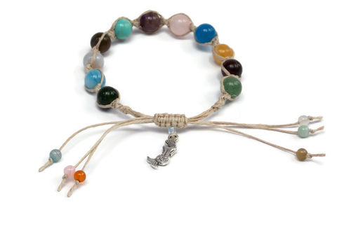 Multi,Gemstone,Hemp,Mala,Bracelet,with,Mermaid,Charm,Mala-bracelet, Mala-beads, Mala, prayer, charm-bracelet, mermaid, sea, gypsy, hemp-bracelet, friendship-bracelet, bracelet, arm-jewelry, handmade, multi, gemstone, colorful, pastel, hemp, stacked-bracelets